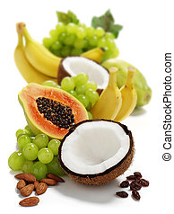 tropical fruits - assorted tropical fruits isolated