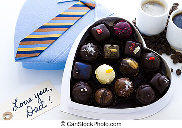 Assorted truffles in gift boxes for Fathers Day.