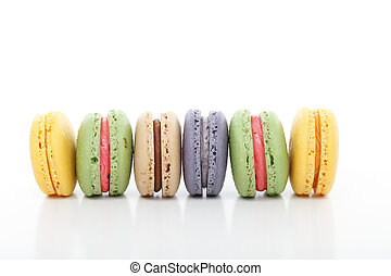 Assorted variety macarons macaroons in a row - Selection of...