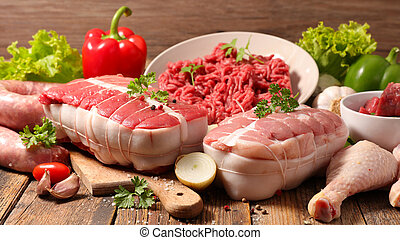 assorted variety of meat