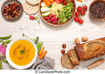 assorted vegan food, healthy lifestyle