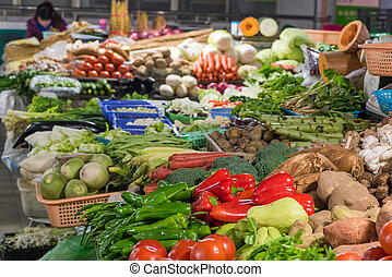 Assorted vegetables in a market