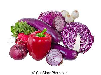 Assorted vegetables in violet gamma.