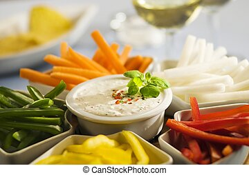Assorted vegetables sticks and dip