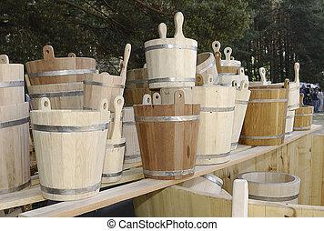 wooden buckets
