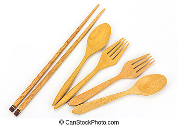 Assorted wooden tableware on white background