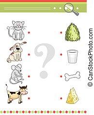 assorti, animaux, nourriture, book., dessin animé, leur, jeu, vecteur, enfants, préscolaire