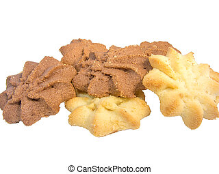 assorti, biscuits, isolé, blanc