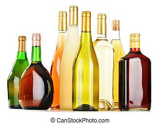 assorti, bouteilles, boissons alcooliques, isolé, blanc