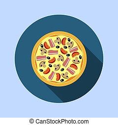 assorti, champignons, tomates, pizza