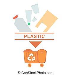 assorti, déchets, plastique