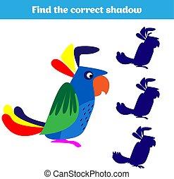 assorti, droit, images, trouver, jeu, gosses, préscolaire, animal, activité, children., ombre, shadow., kids.