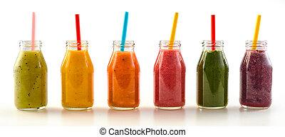 assorti, panorama, veg, fruit, frais, smoothies