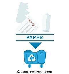 assorti, papier, déchets