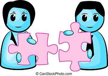 assorti, puzzle, deux morceaux