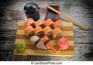assorti., rotolo sushi, fatto, dish.
