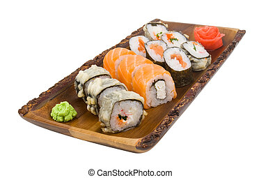 assorti set sushi on wooden board isolated on white background