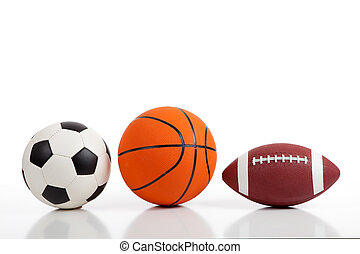 assorti, sports, balles, blanc