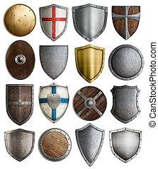 assortiment, chevalier, armure, moyen-âge, boucliers