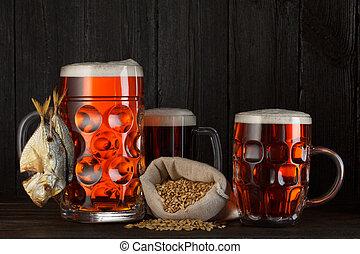 assortiment, grande tasse bière