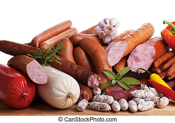 assortiment of sausages - Assortment of cold meats, variety ...