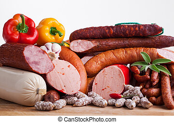 assortiment, sausages