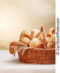 assortiment, van, bakkerij, producten