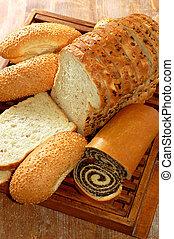 assortiment, van, gebakken brood, en, anderen, bakkerij,...