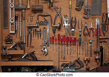 assortiment, van, gereedschap