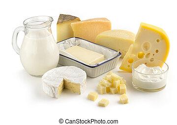 assortiment, van, melk producten