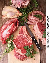 assortiment, van, rauw vlees