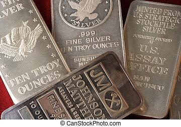 assortimento, barre lingotto, argento