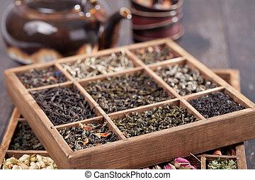 assortimento, di, asciutto, tè