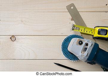 assortimento, di, attrezzi, su, legno