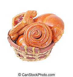 assortimento, panetteria, cesto, generi alimentari