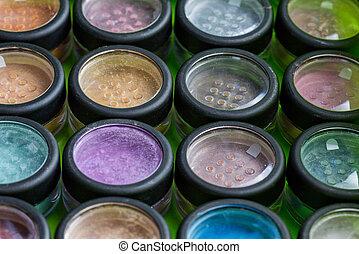 assortimento, trucco, cosmetica, polvere