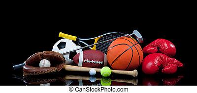 assortito, apparecchiatura sport, su, nero