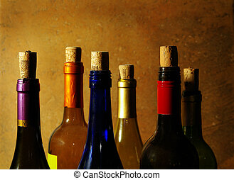 assortito, bottiglie vino, sugheri