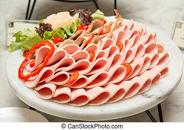 assortito, freddo, slices., piatto da portata, taglio