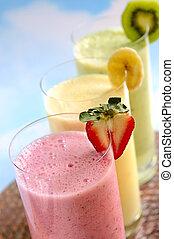 assortito, frutta, smoothies