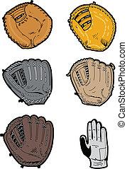 assortito, guanti baseball