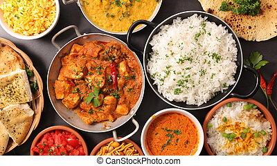 assortito, indiano, piatto, pietanza