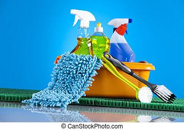 assortito, pulizia, gruppo