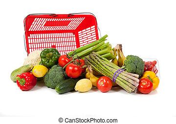 assortito, verdura, con, uno, sacco drogheria