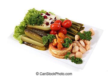 assortito, verdure marinate, su, il, piastra, isolato, sopra, bianco