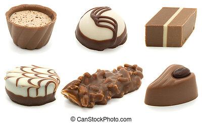 assortment chocolate pralines, isolated on white background