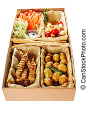 Assortment Delicious Meal in Box Isolated Delivery