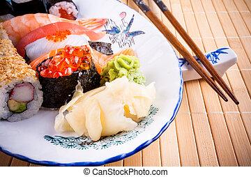 Assortment fish sushi with salmon ikura