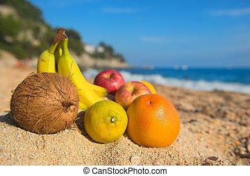 Assortment fruit at the beach