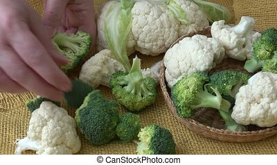 Assortment green vegetables. Broccoli, cauliflower. Healthy...